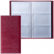 Визитница трехрядная BRAUBERG 'Imperial', на 144 визитки, под гладкую кожу, бордовая, 231662